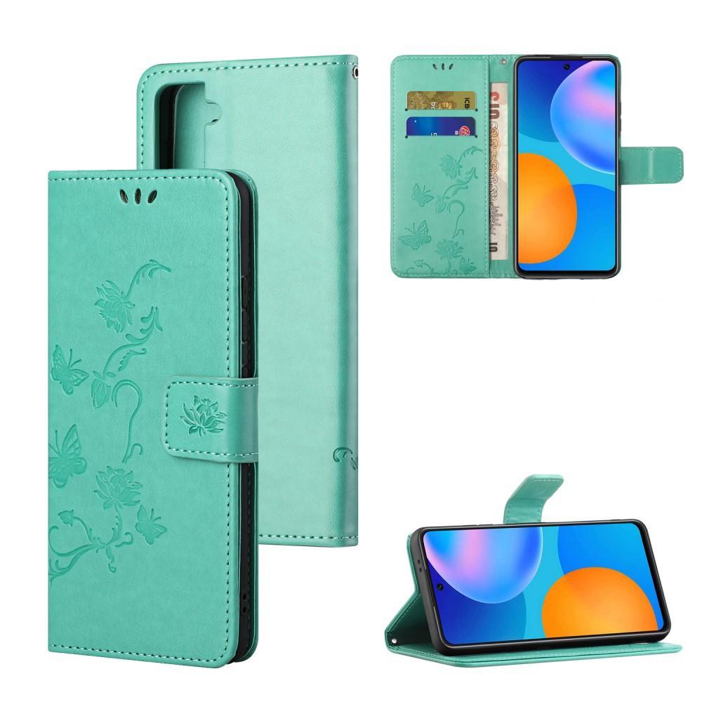 Lærveske Sommerfugler Samsung Galaxy S21 grønn