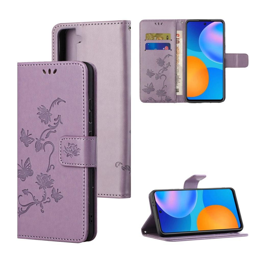 Lærveske Sommerfugler Samsung Galaxy S21 Plus lilla