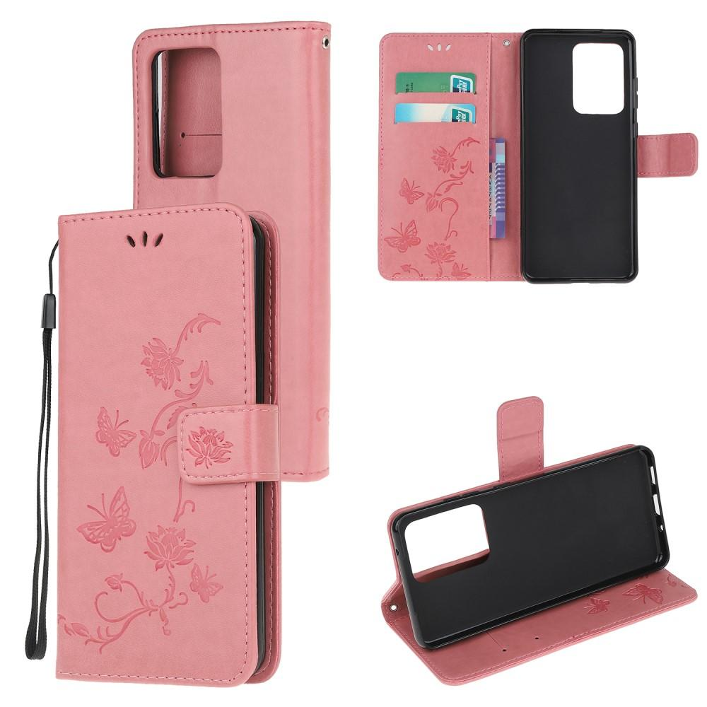 Lærveske Sommerfugler Samsung Galaxy S21 Ultra rosa