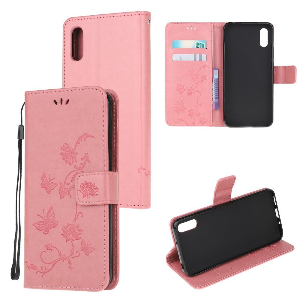Lærveske Sommerfugler Samsung Galaxy Xcover 5 rosa