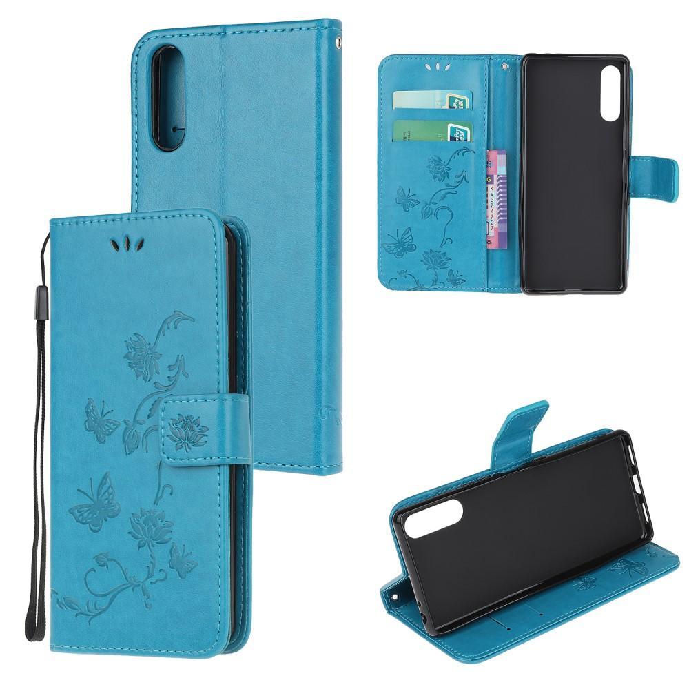 Lærveske Sommerfugler Sony Xperia L4 blå
