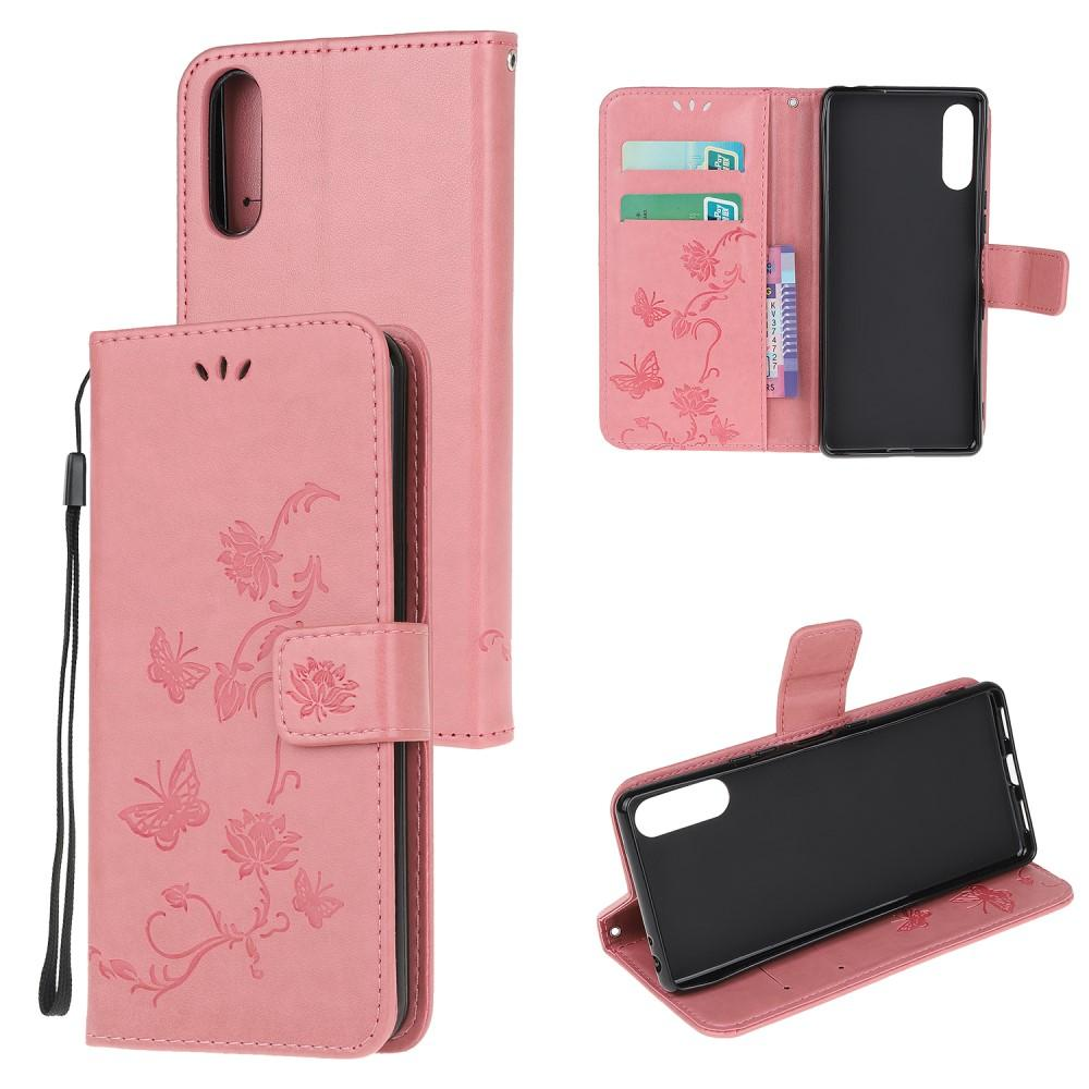 Lærveske Sommerfugler Sony Xperia L4 rosa