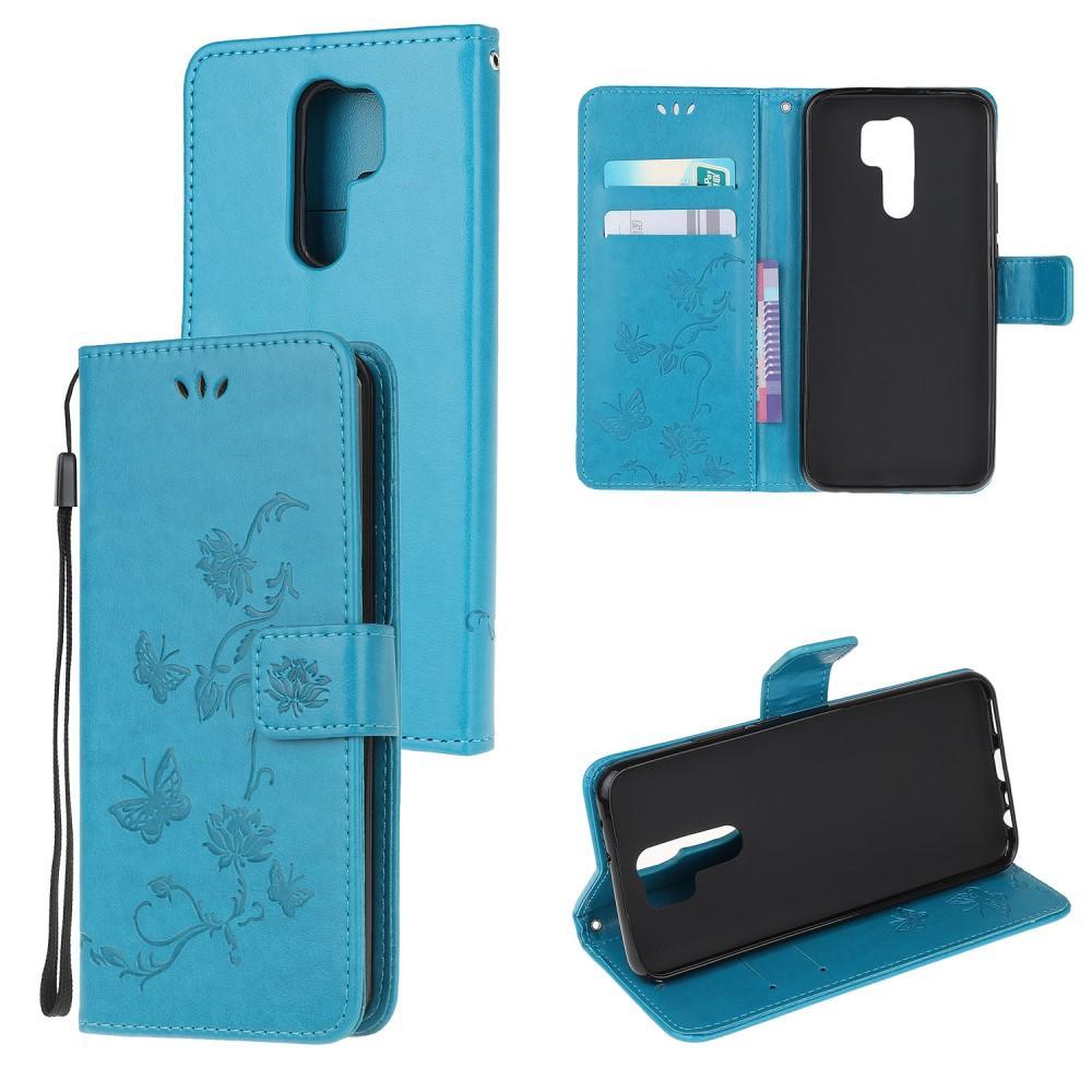 Lærveske Sommerfugler Xiaomi Redmi 9 blå