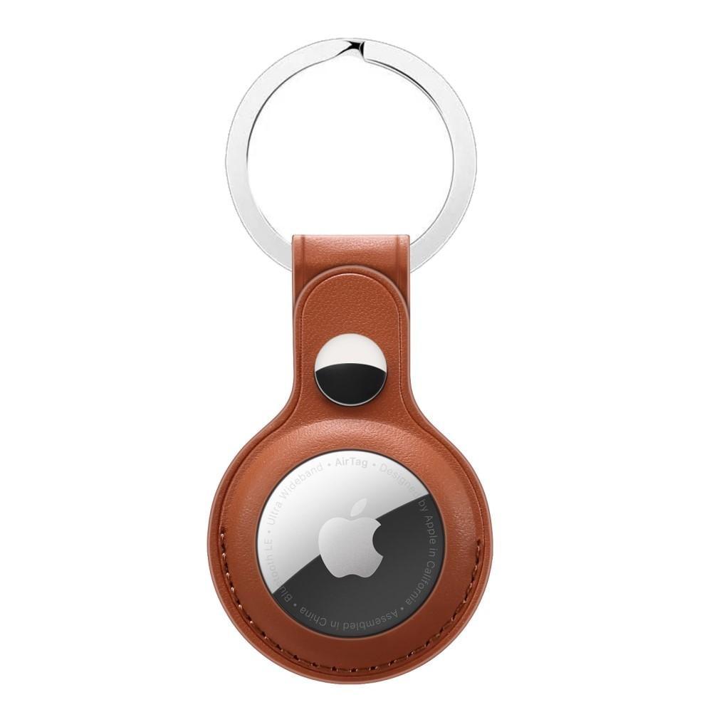 Lærdeksel med nøkkelring Apple AirTag brun