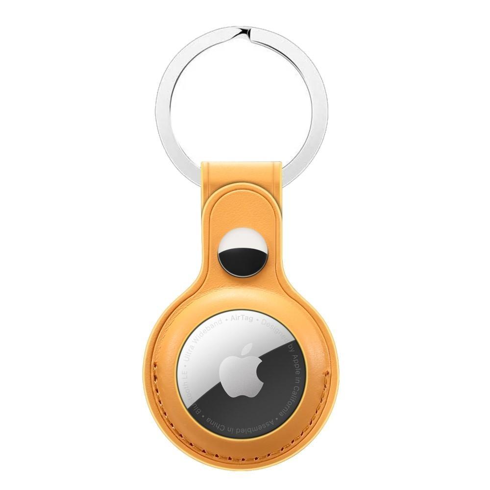 Lærdeksel med nøkkelring Apple AirTag gul