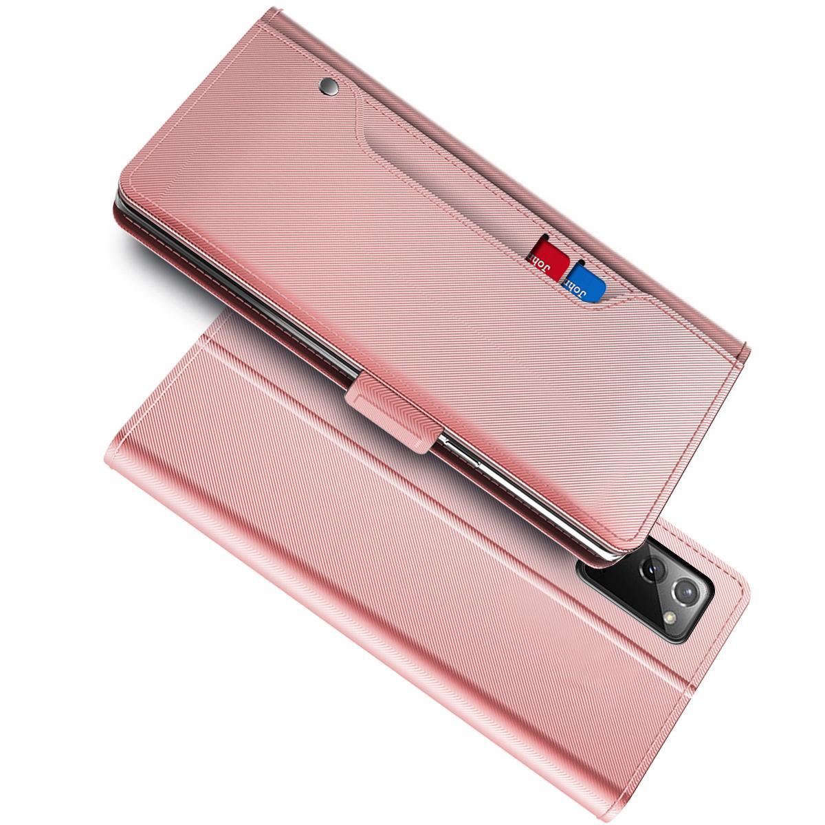 Lommebokdeksel Speil Galaxy Note 20 Ultra Rosa Gull