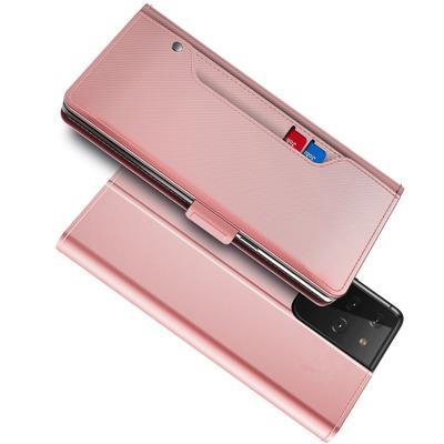 Lommebokdeksel Speil Galaxy S21 Ultra Rosa Gull