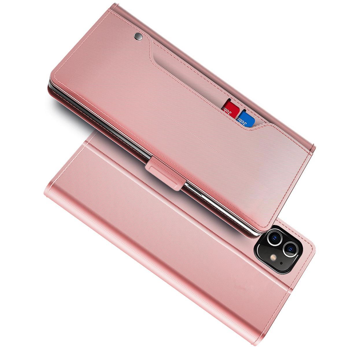 Lommebokdeksel Speil iPhone 12/12 Pro Rosa Gull