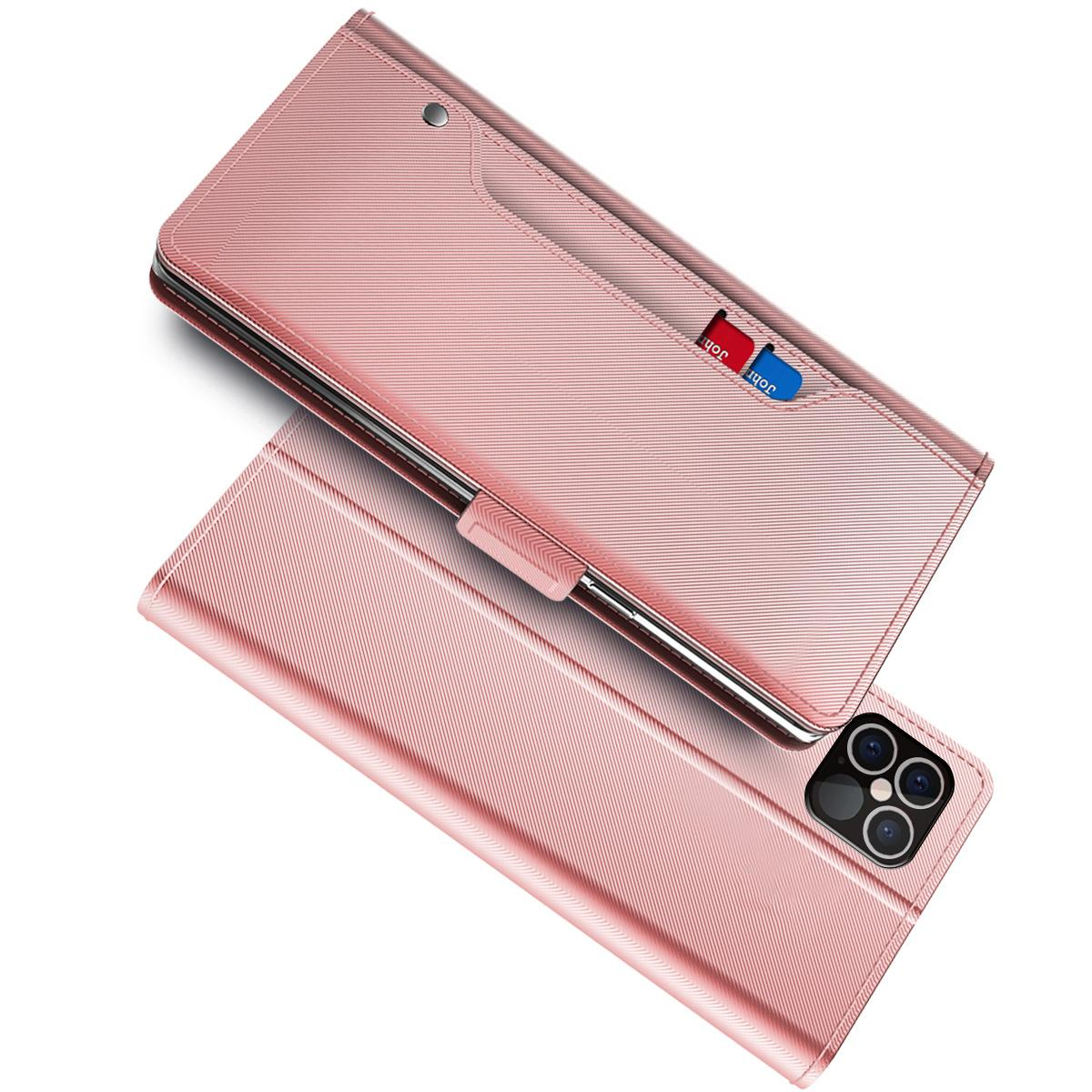 Lommebokdeksel Speil iPhone 12 Pro Max Rosa Gull