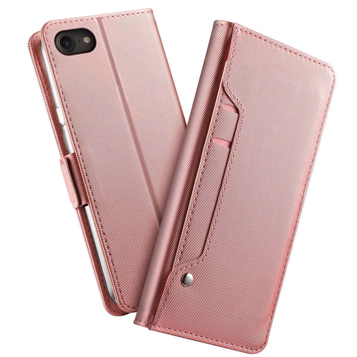 Lommebokdeksel Speil Apple iPhone 7/8/SE 2020 Rosa Gull
