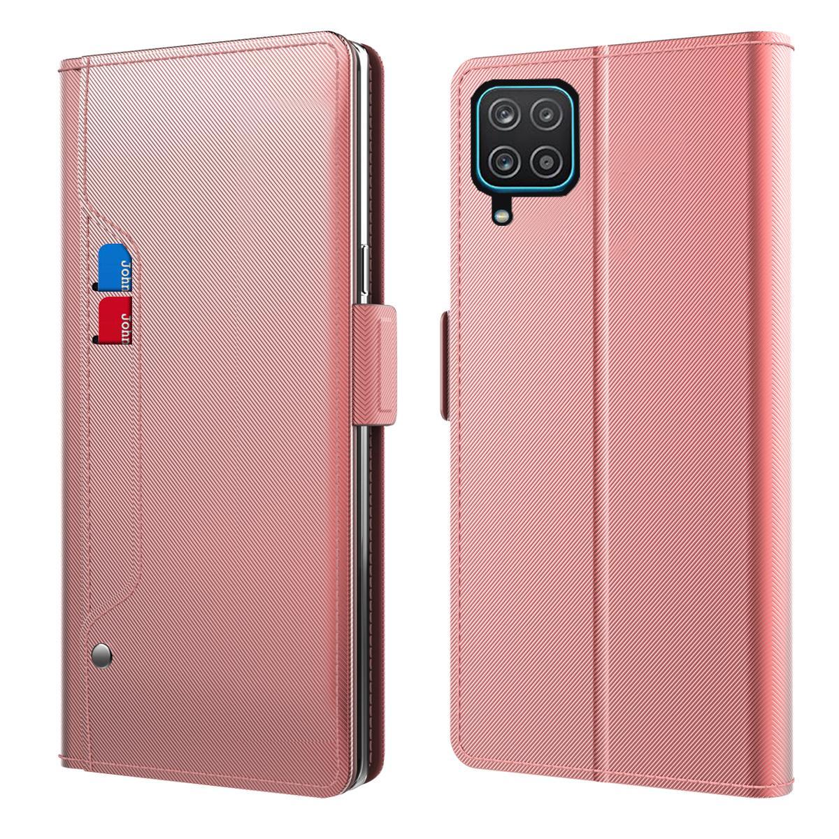 Lommebokdeksel Speil Samsung Galaxy A12 Rosa Gull