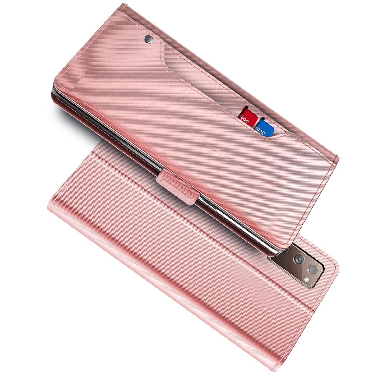 Lommebokdeksel Speil Samsung Galaxy S20 FE Rosa Gull