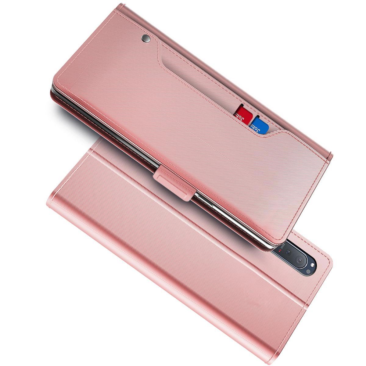 Lommebokdeksel Speil Sony Xperia 5 II Rosa Gull