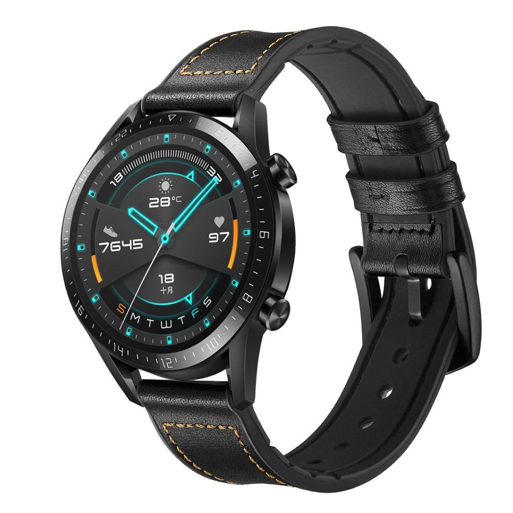 Premium Lærarmbånd Huawei Watch GT 2 Pro/GT 2 46mm/GT 2e svart