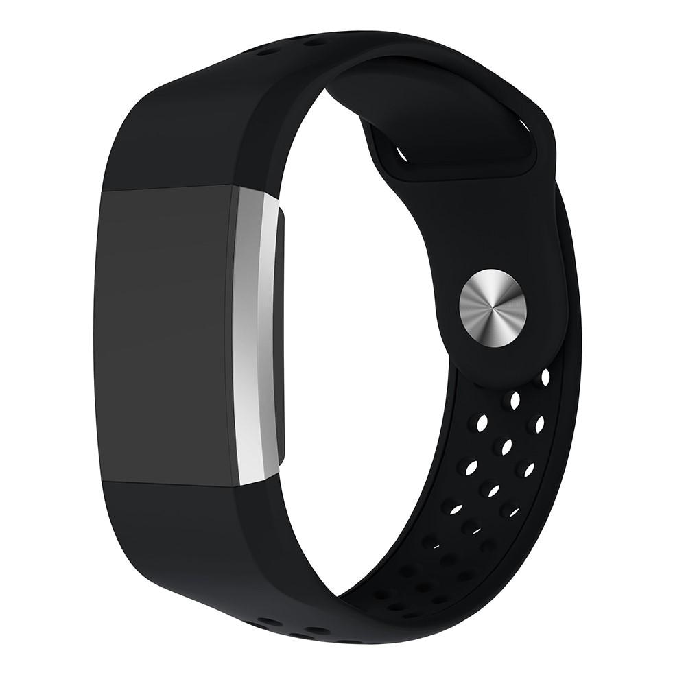 Silikonarmbånd Sport Fitbit Charge 2 svart