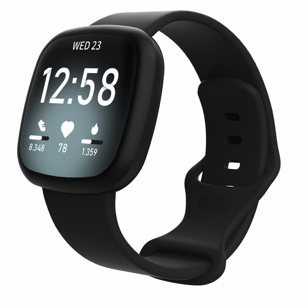 Silikonarmbånd Fitbit Versa 3/Sense svart (Small)