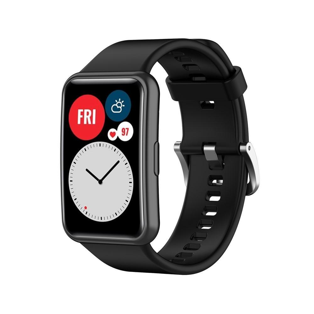 Silikonarmbånd Huawei Watch Fit svart