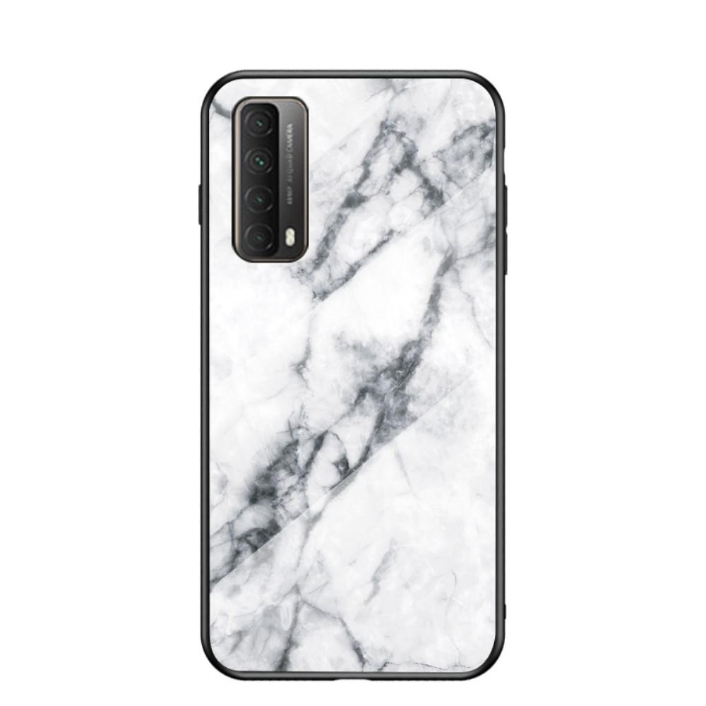 Herdet Glass Deksel Huawei P Smart 2021 vit marmor