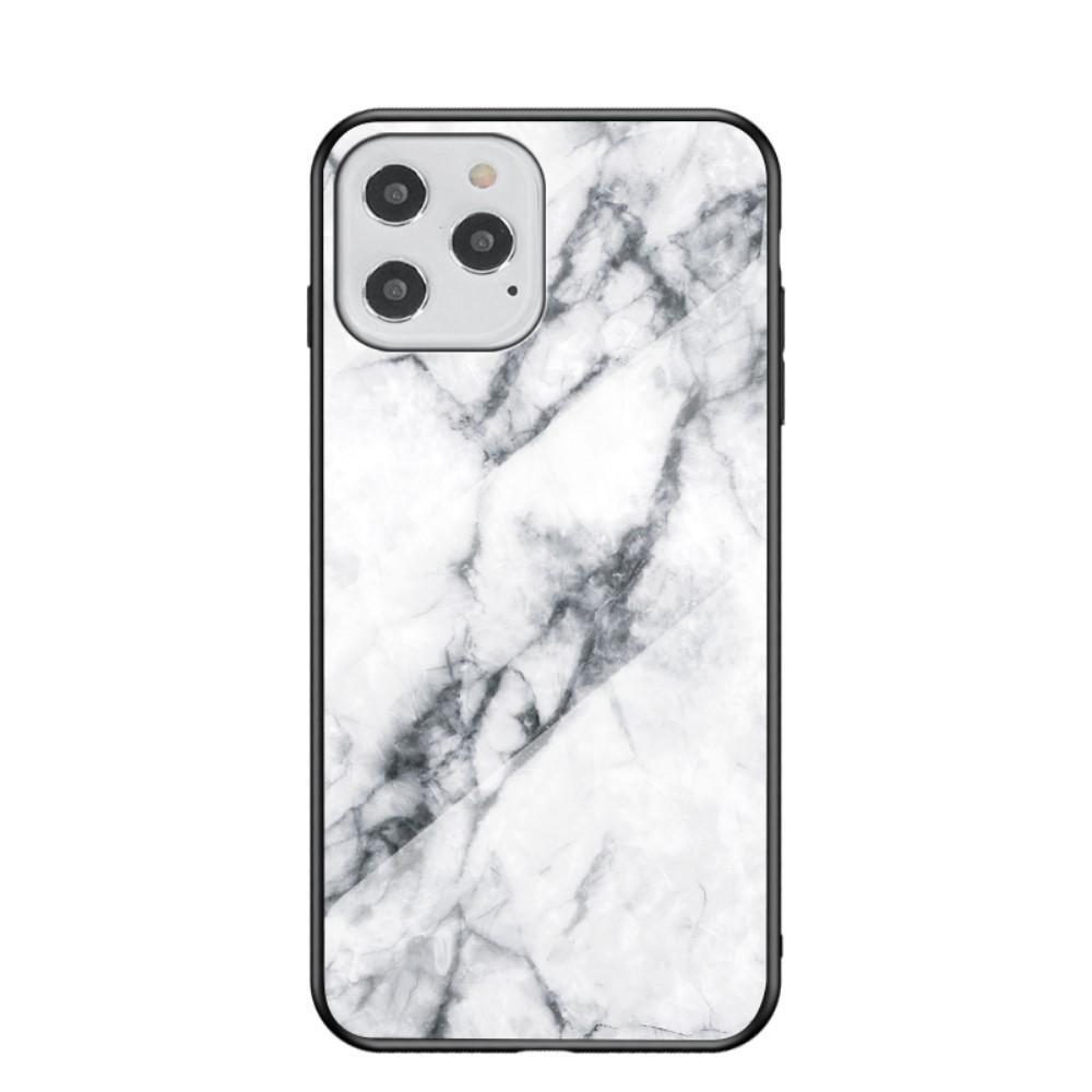 Herdet Glass Deksel iPhone 12/12 Pro vit marmor