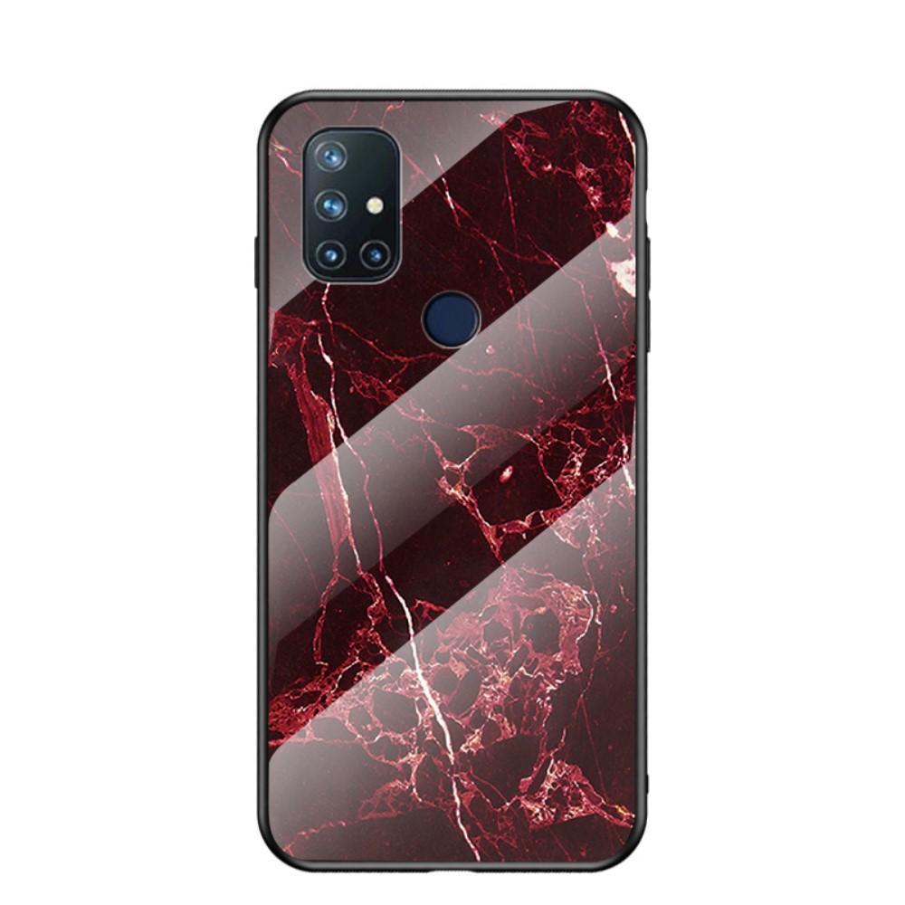 Herdet Glass Deksel OnePlus Nord N10 5G rød marmor