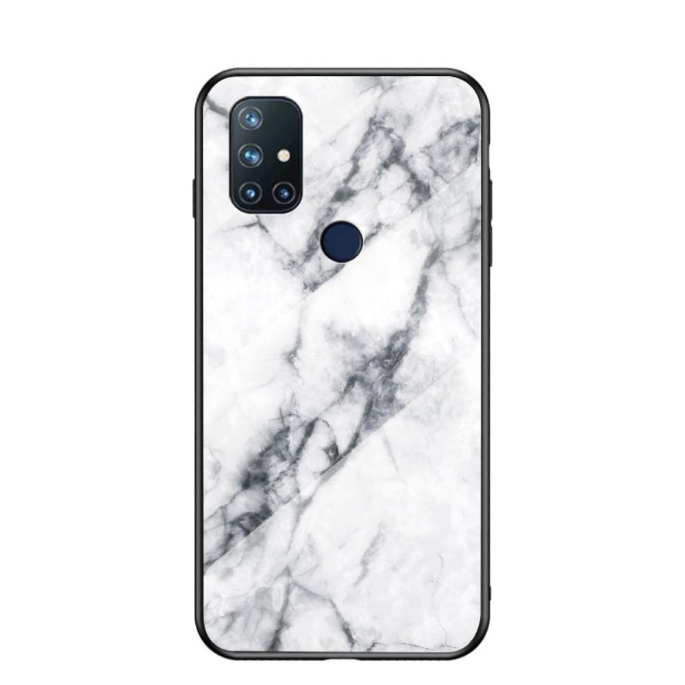 Herdet Glass Deksel OnePlus Nord N10 5G vit marmor
