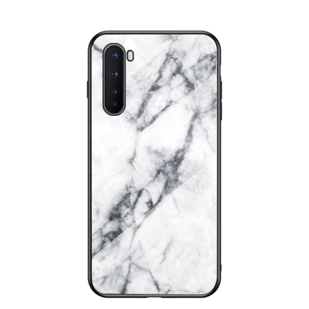 Herdet Glass Deksel OnePlus Nord vit marmor