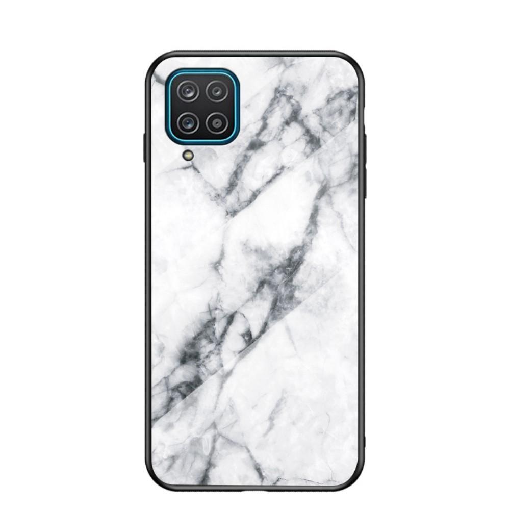 Herdet Glass Deksel Samsung Galaxy A12 vit marmor