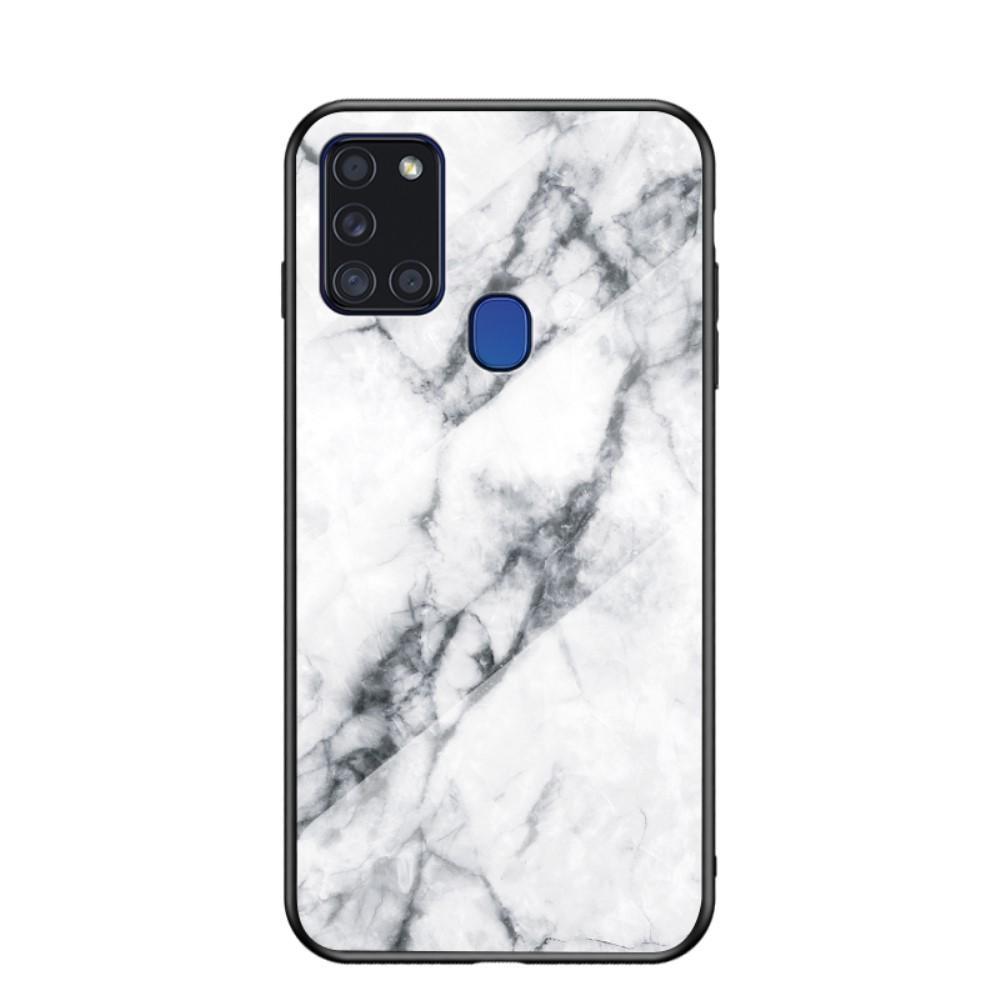 Herdet Glass Deksel Samsung Galaxy A21s vit marmor