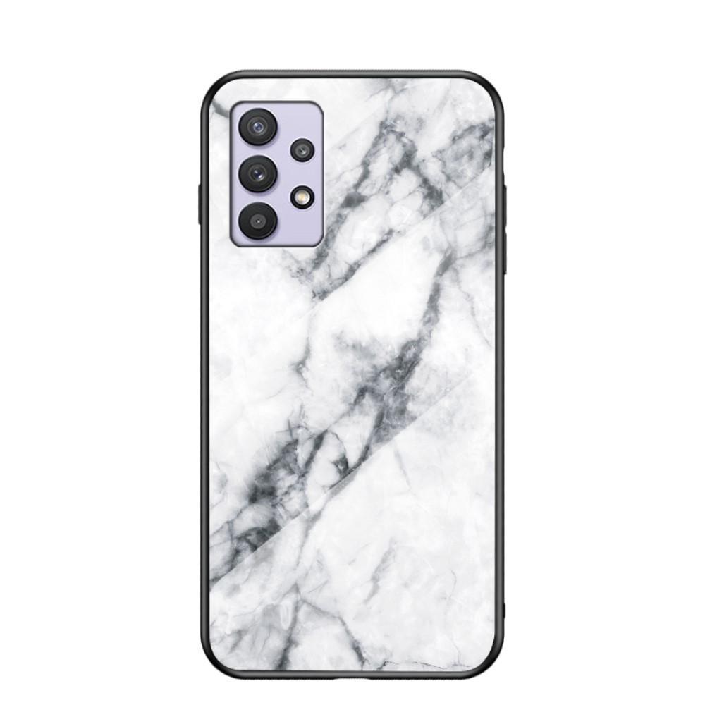 Herdet Glass Deksel Samsung Galaxy A32 5G vit marmor