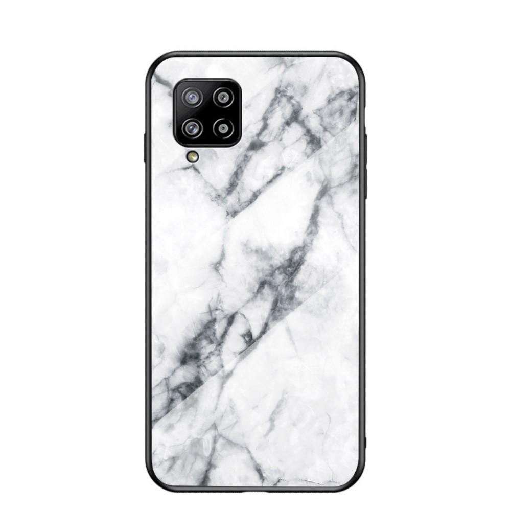 Herdet Glass Deksel Samsung Galaxy A42 5G vit marmor