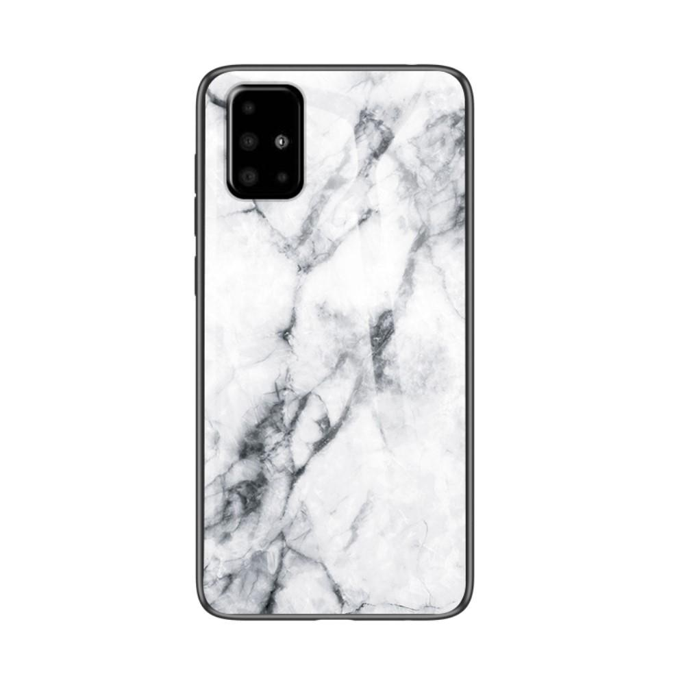 Herdet Glass Deksel Samsung Galaxy A51 vit marmor