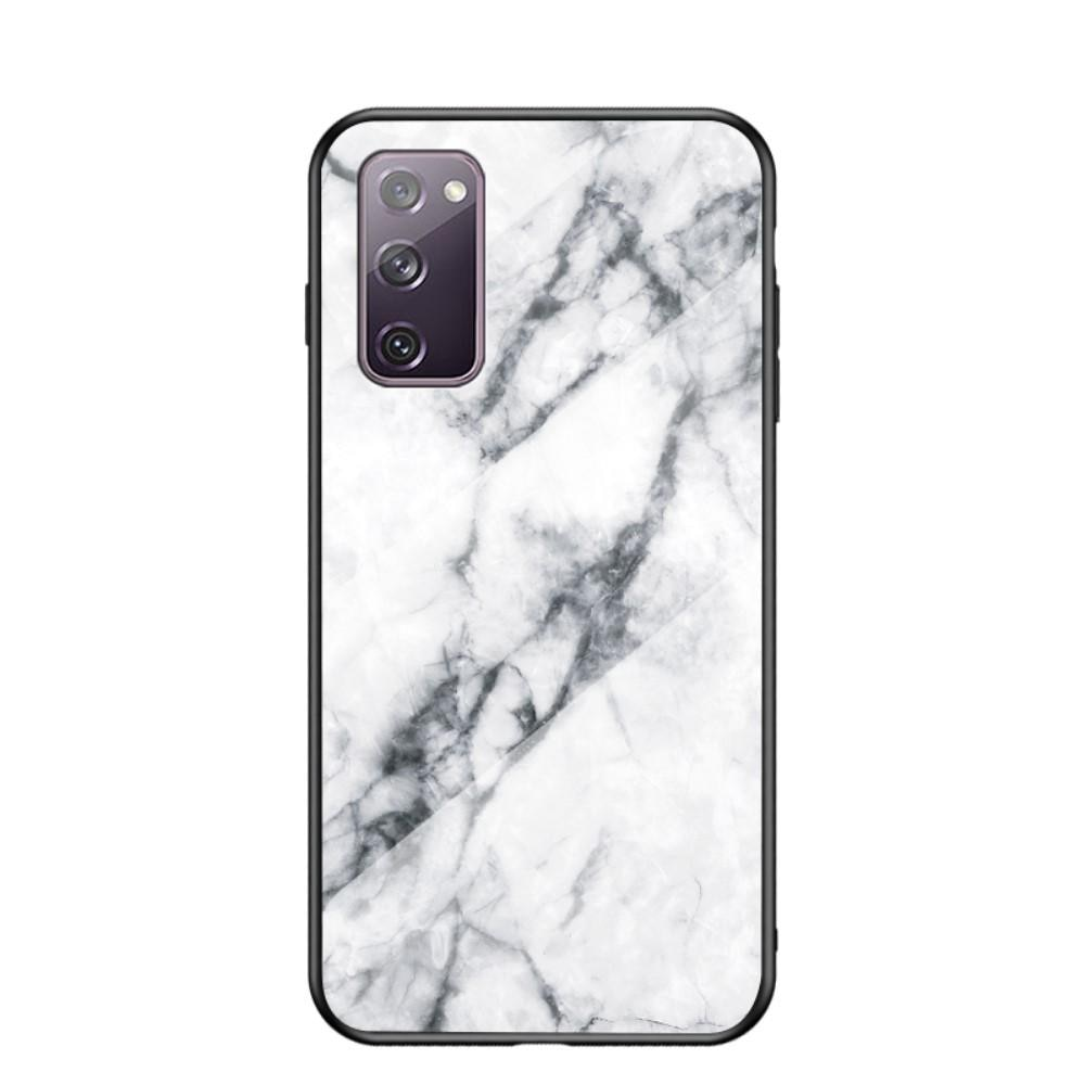 Herdet Glass Deksel Samsung Galaxy S20 FE vit marmor