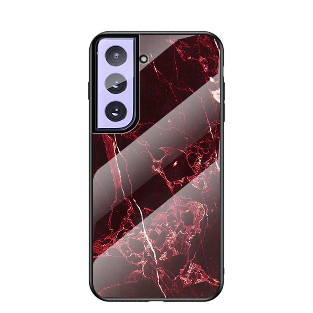 Herdet Glass Deksel Samsung Galaxy S21 Plus rød marmor