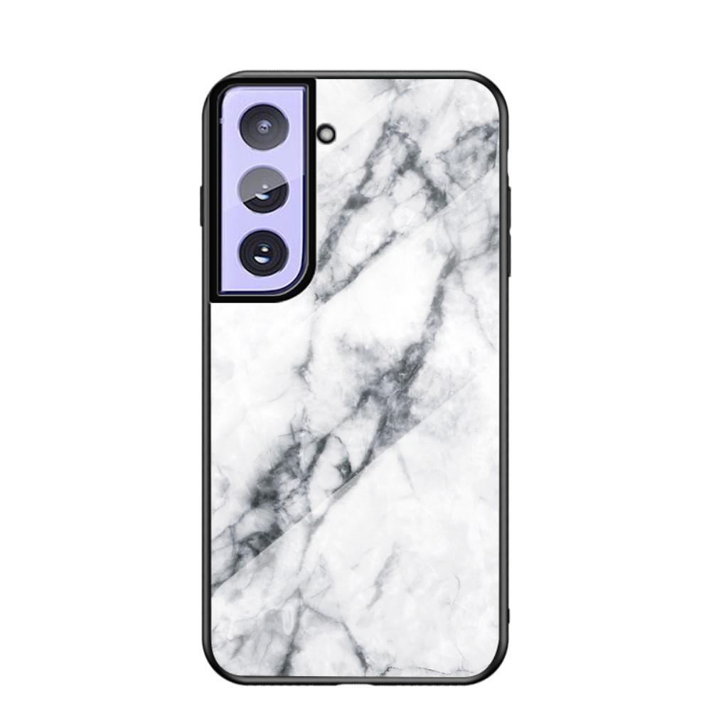 Herdet Glass Deksel Samsung Galaxy S21 Plus vit marmor