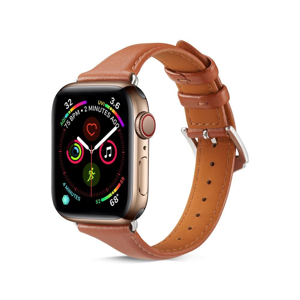 Slim Lærarmbånd Apple Watch 38/40 mm cognac