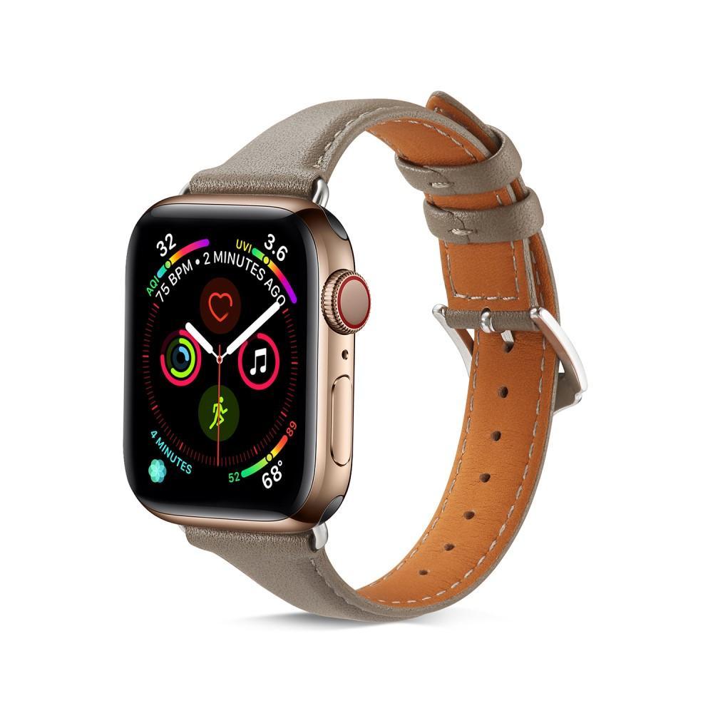 Slim Lærarmbånd Apple Watch 38/40 mm grå