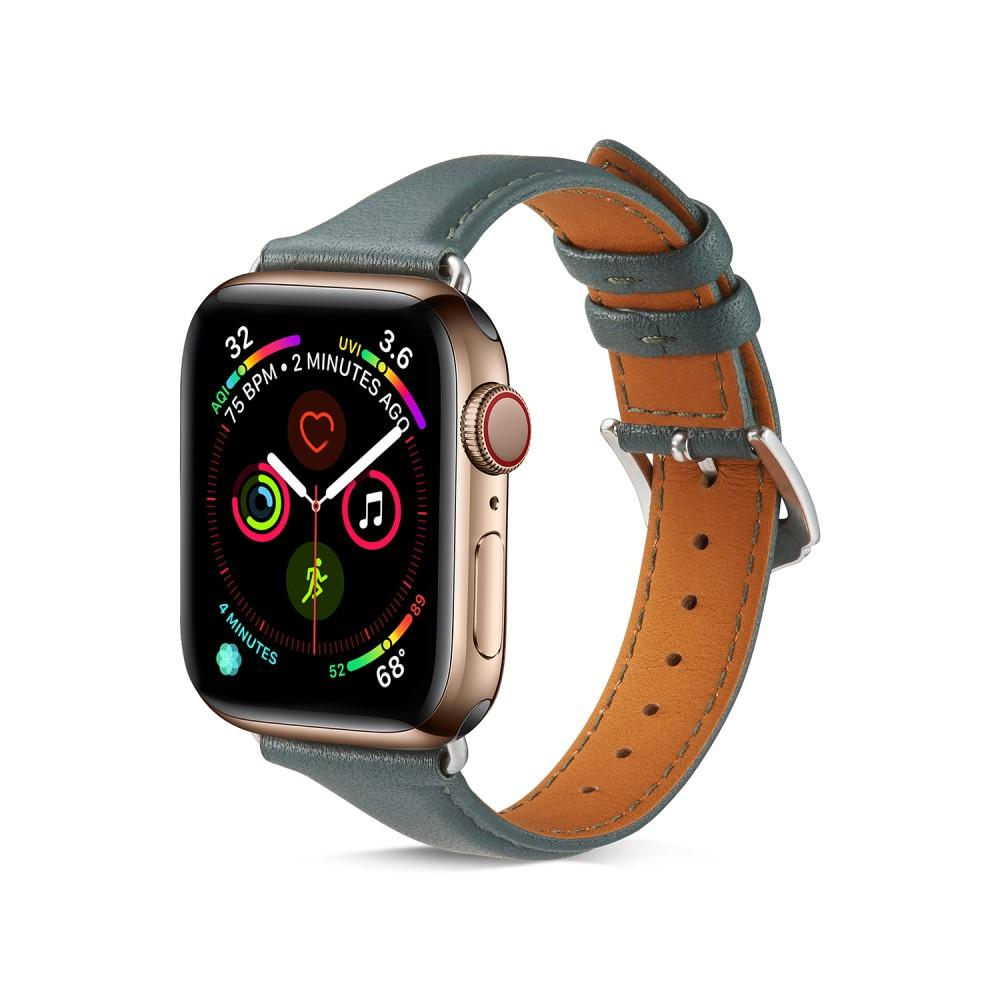 Slim Lærarmbånd Apple Watch 38/40 mm grønn