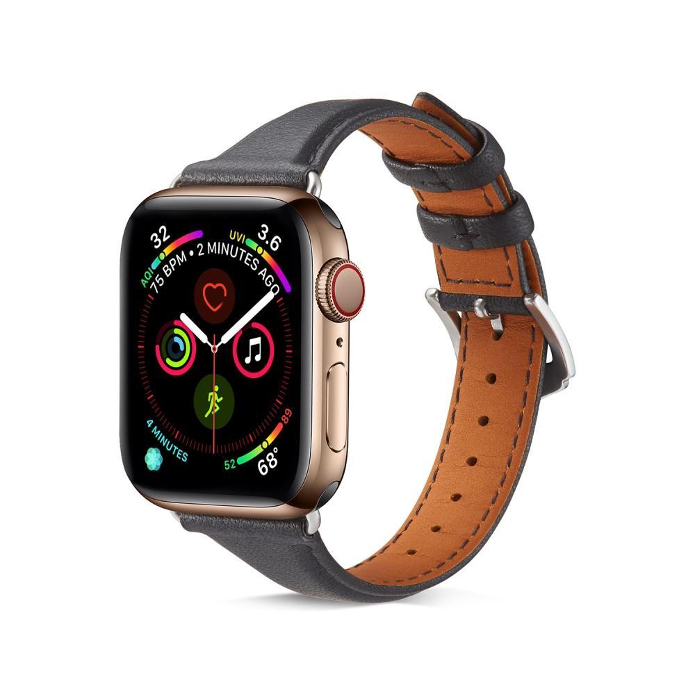 Slim Lærarmbånd Apple Watch 38/40 mm svart