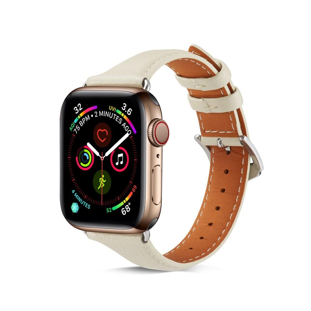 Slim Lærarmbånd Apple Watch 38/40 mm hvit