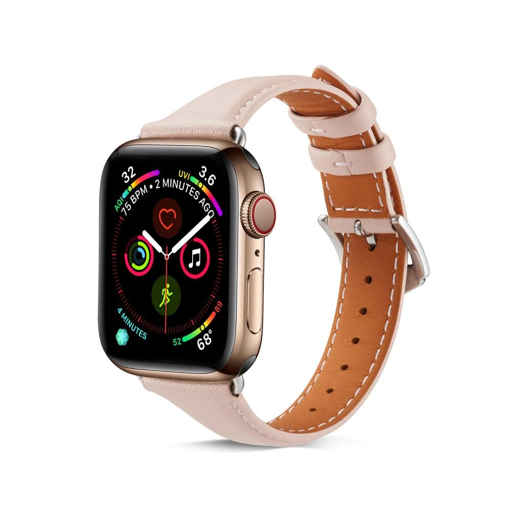 Slim Lærarmbånd Apple Watch 42/44 mm rosa