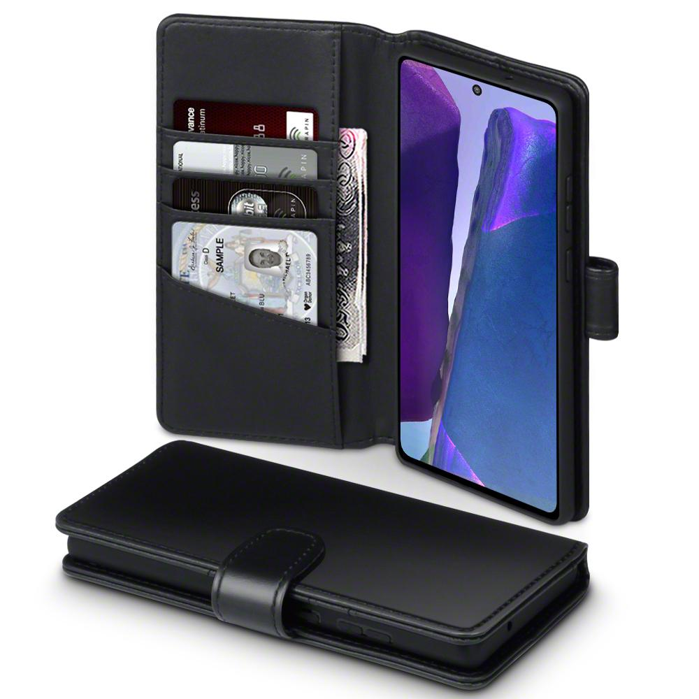 Ekte Lærlommebok Galaxy Note 20 svart