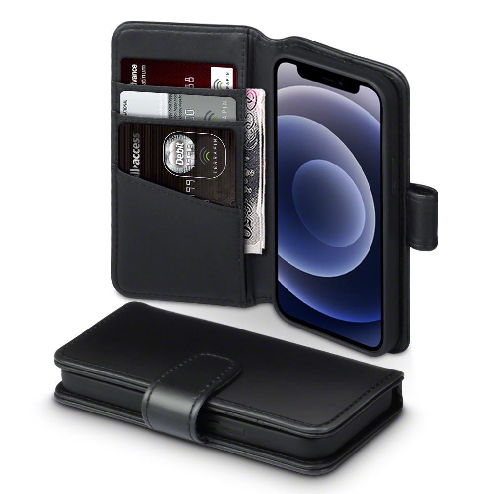 Ekte Lærlommebok iPhone 12 Mini svart